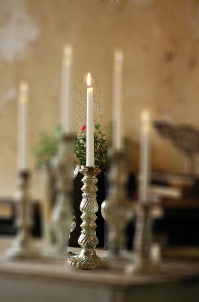 ANTIQUED SILVER GLASS TAPER CANDLEHOLDER - 11.5