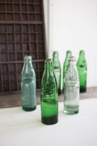 ANTIQUE GLASS SODA BOTTLE SET of 6