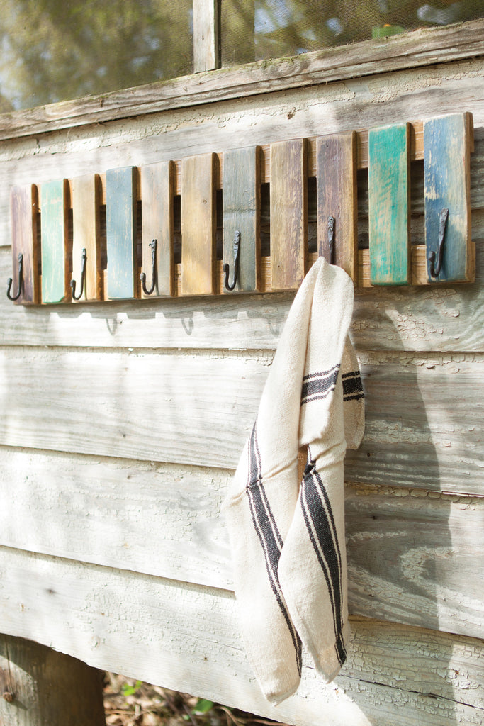 RECYCLED PAINTED WOODEN SLATTED COAT RACK WITH HAND FORGED HOOK