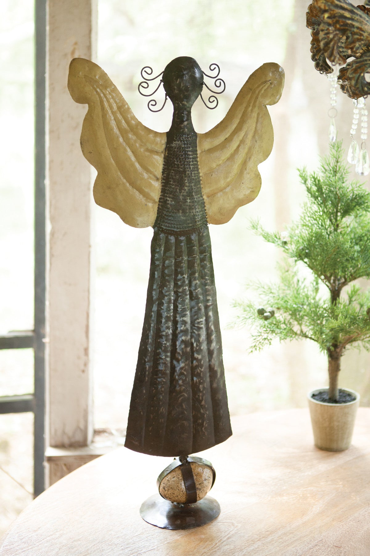 HAND HAMMERED STANDING ANGEL WITH GOLD WINGS & CAGED ROCK BASE