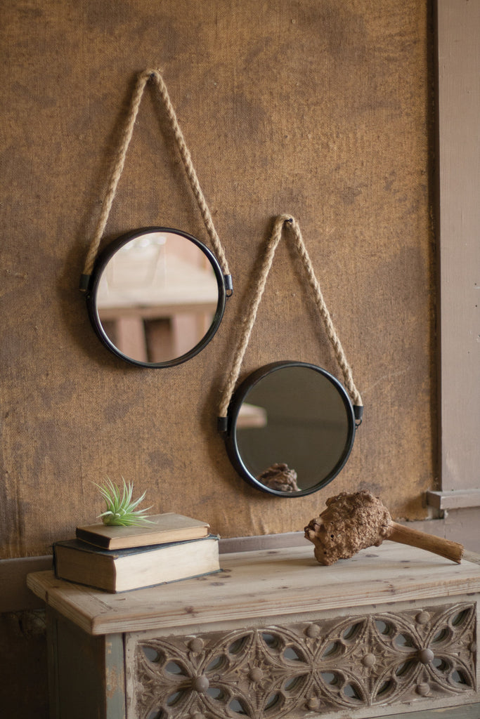 ACCENT MIRROR WITH METAL FRAME AND ROPE HANGER