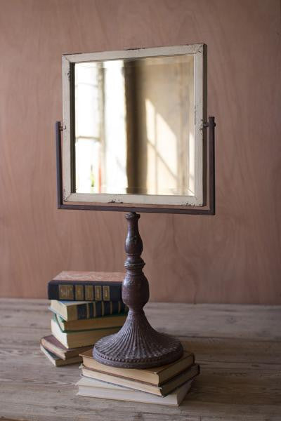 IRON MIRROR ON A STAND - SQUARE