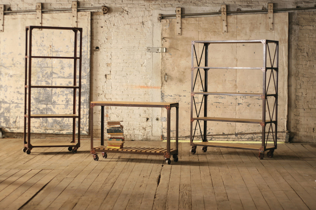 TALL IRON AND WOOD DISPLAY WITH FIVE SHELVES AND IRON CASTERS