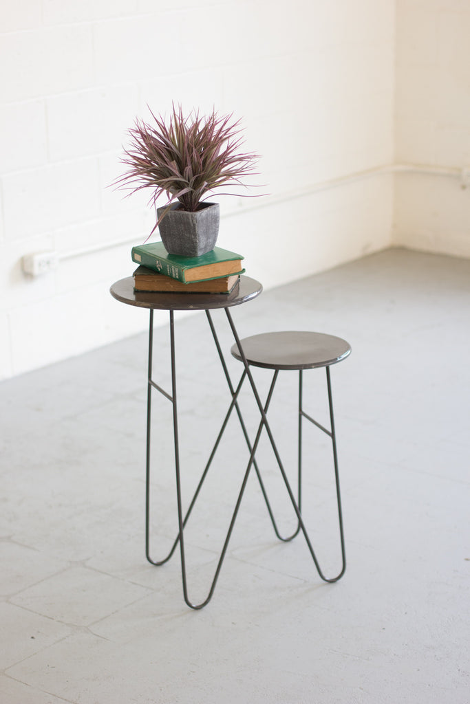 TWO TIERED ACCENT TABLE WITH METAL TOP