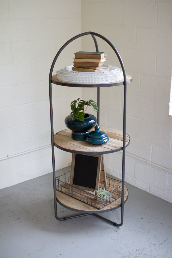 METAL AND WOOD DISPLAY TOWER WITH THREE SHELVES