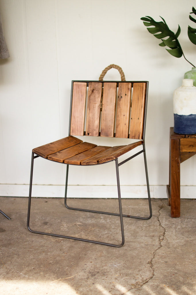 METAL AND RECYCLED SLAT WOOD CHAIR WITH ROPE HANDLE