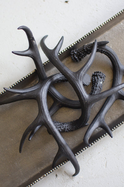 BLACK RESIN ANTLER ORNAMENT