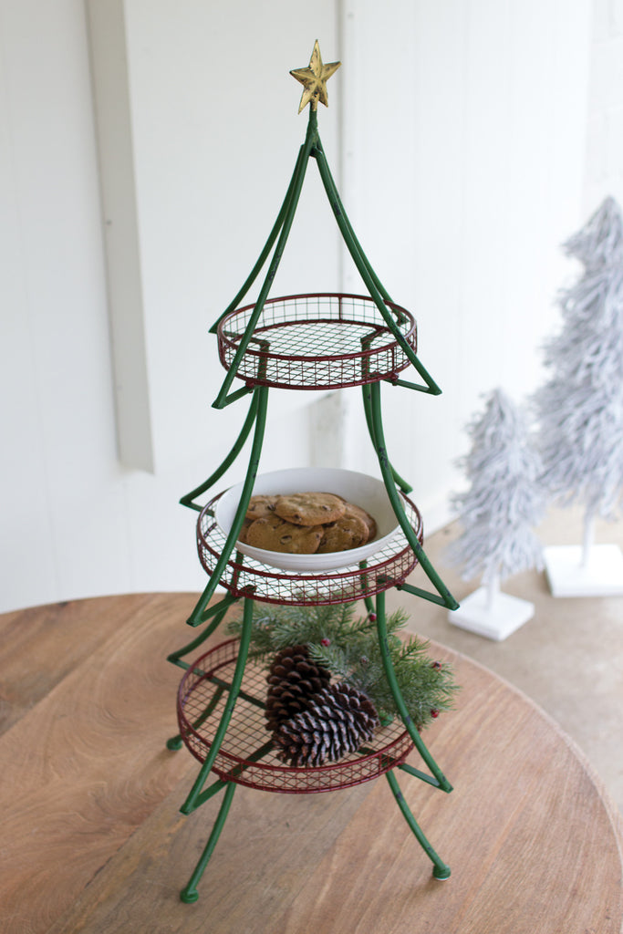 FOLDING GREEN CHRISTMAS TREE WITH 3 RED BASKETS AND GOLD STAR