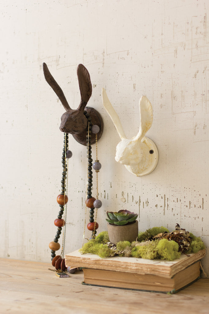 CAST IRON RABBIT WALL HOOK (2 COLORS AVAILABLE)
