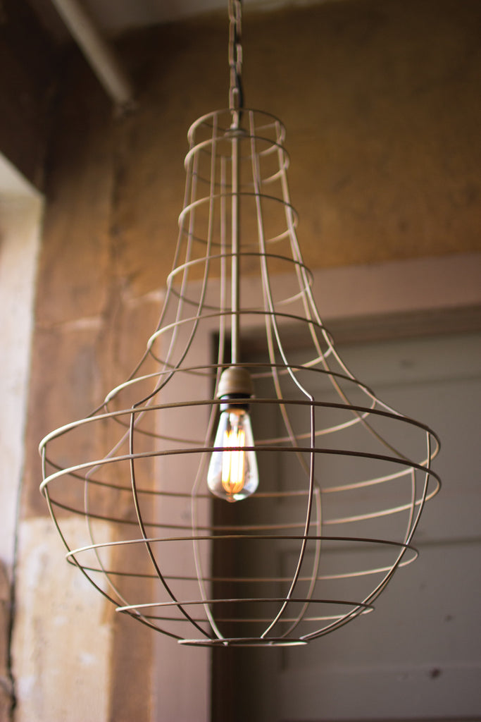 ANTIQUE GOLD WIRE CAGE PENDANT LAMP