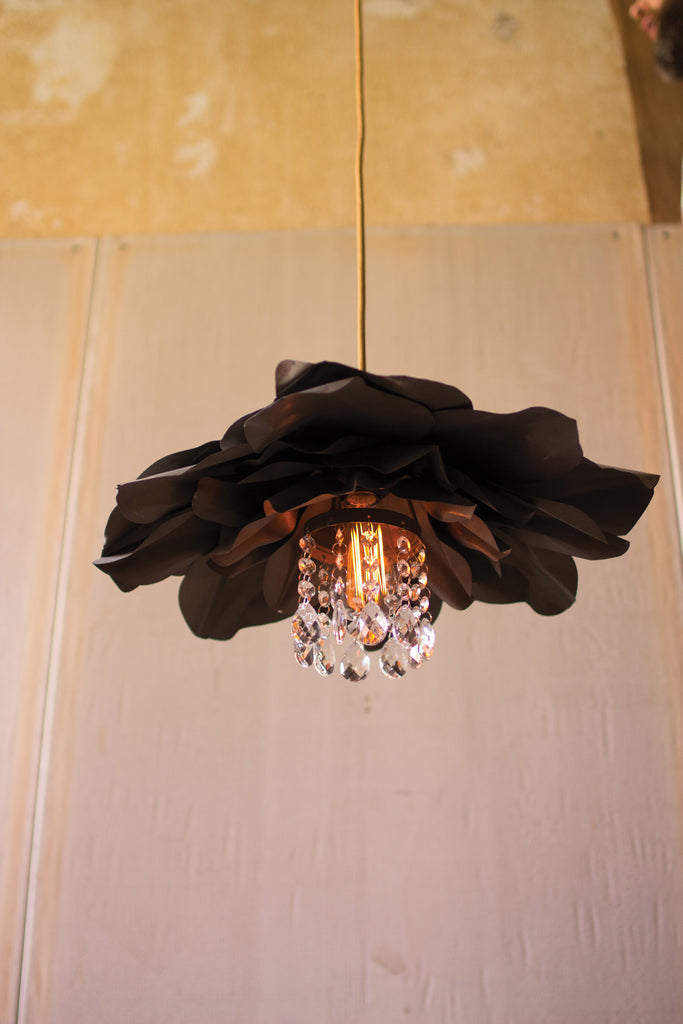 METAL FLOWER PENDANT LIGHT WITH GLASS GEMS