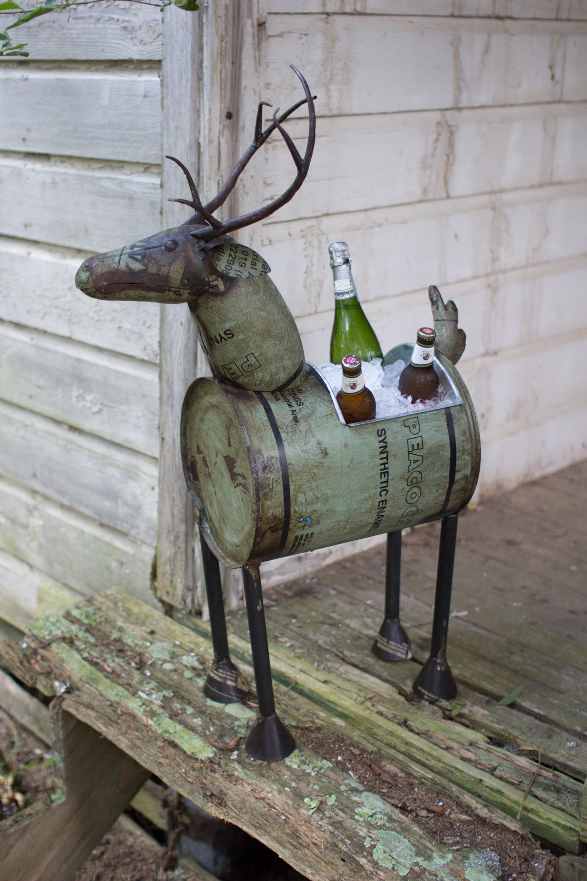 RECLAIMED METAL BARREL DEER PLANTER OR WINE COOLER