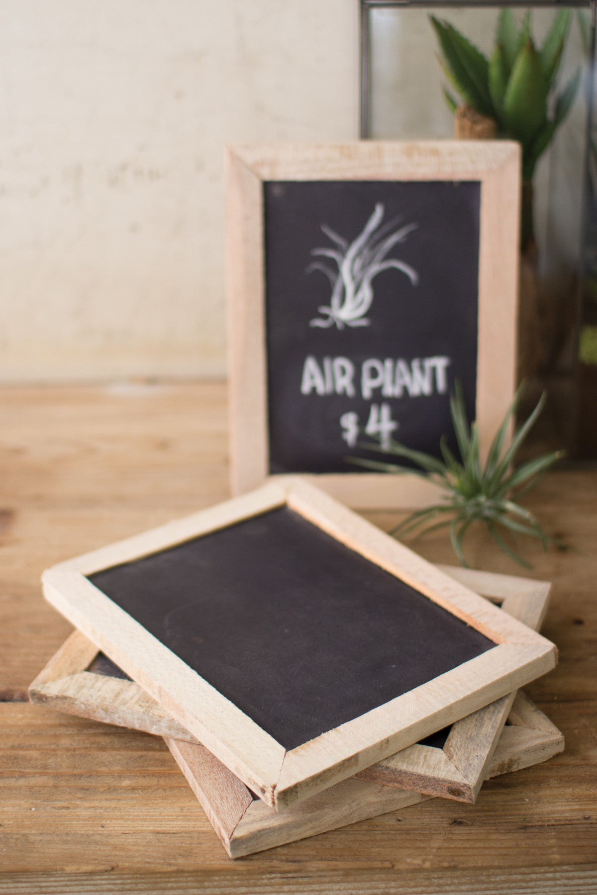 SLATE CHALK BOARD WITH RUSTIC WOODEN FRAME