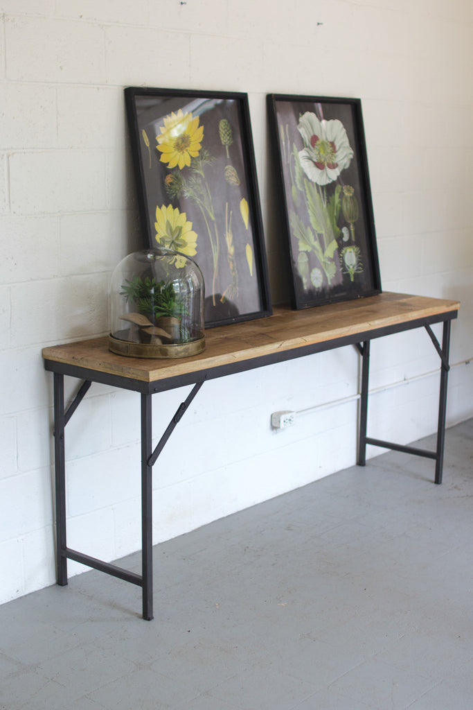 IRON AND WOOD FOLDING TABLE