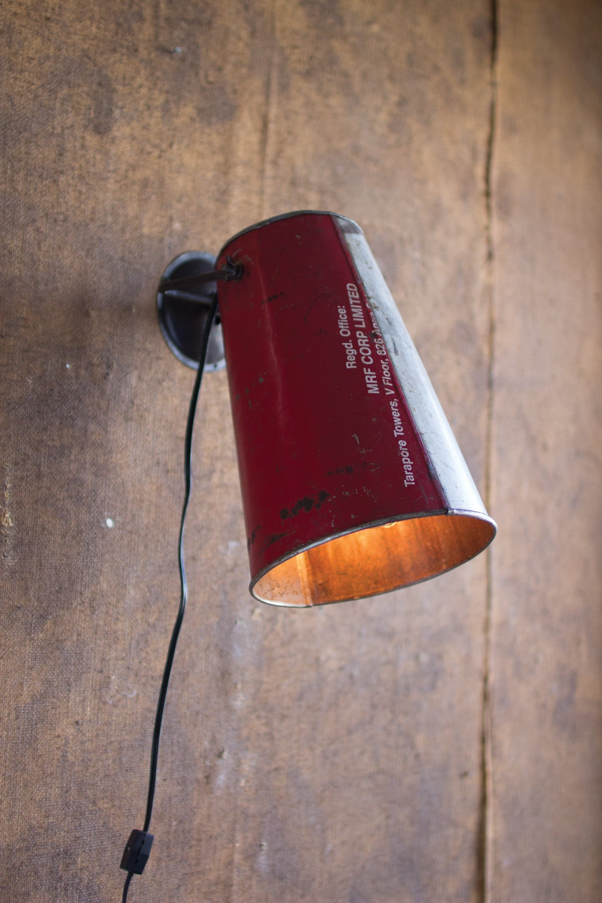 RECYCYLED METAL BUCKET WALL LAMP