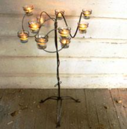 WILD WIRE CANDELABRA WITH GLASS CUPS