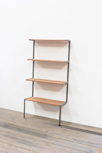 4 TIERED HONEY WOOD AND METAL WALL SHELVING UNIT