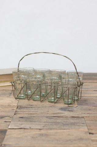 8 GLASSES WITH WIRE HOLDER