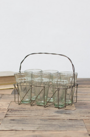 6 GLASSES WITH WIRE HOLDER