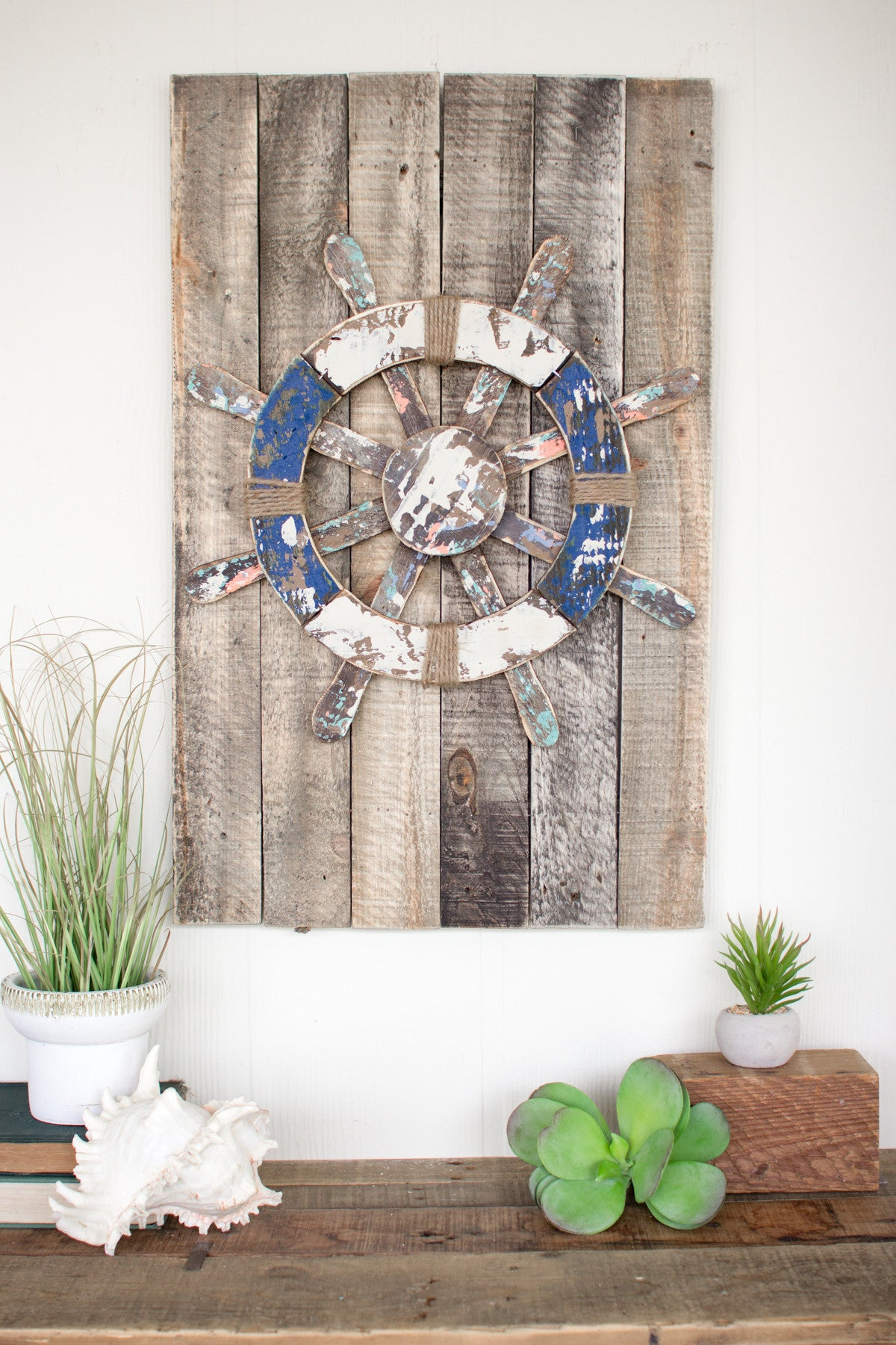 WOODEN SHIP'S WHEEL WALL ART