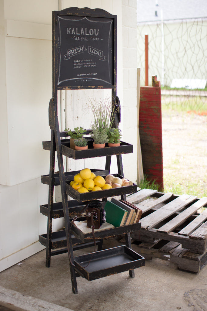 MULTI LEVEL DISPLAY RACK WITH CHALKBOARD