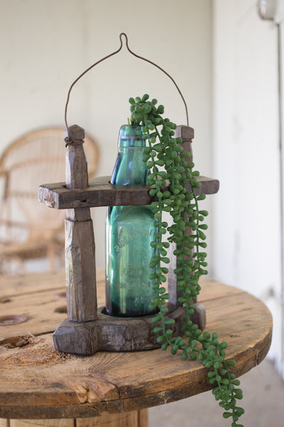 ANTIQUE HANGING SODA BOTTLE BUD VASE