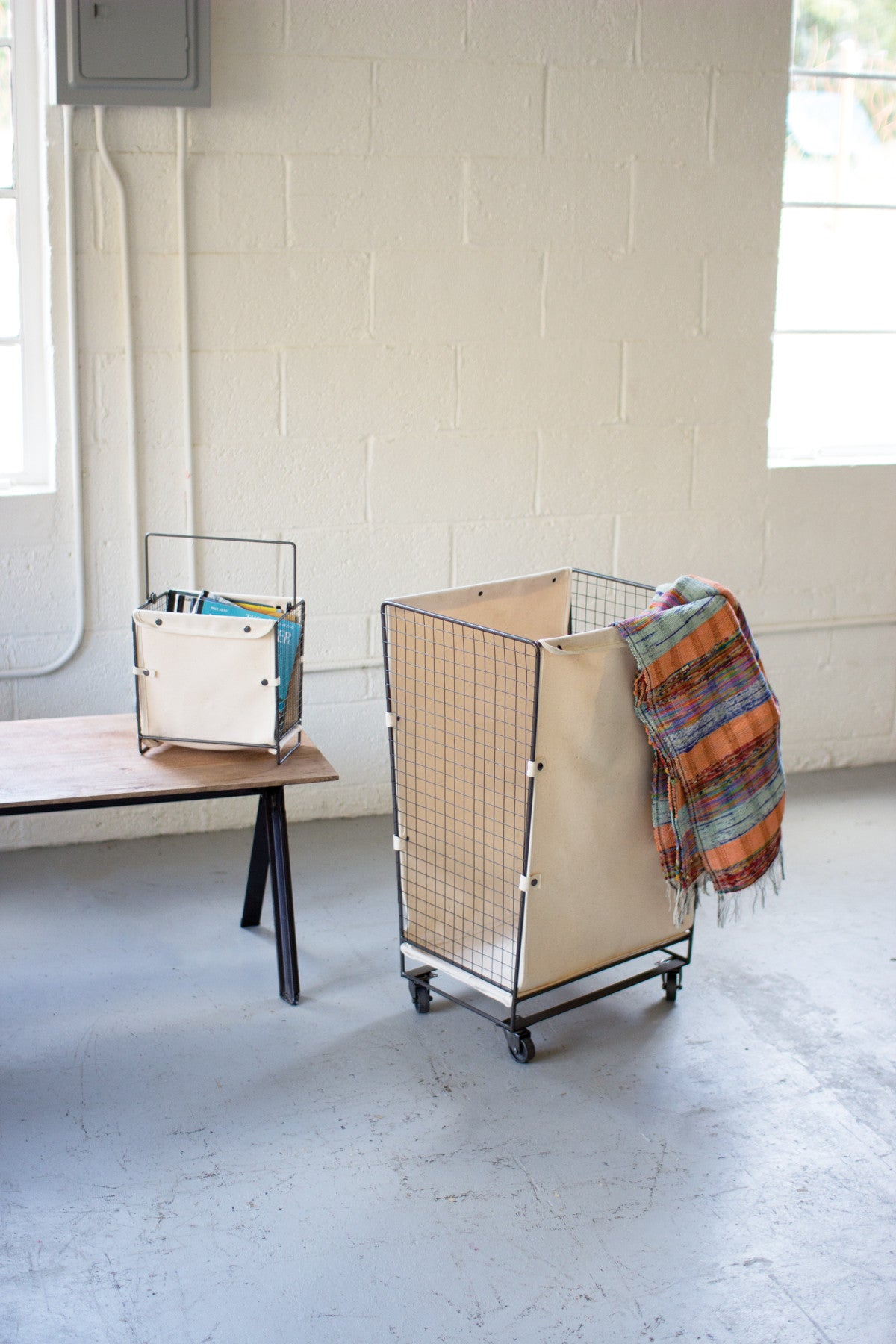 CANVAS AND WIRE HAMPER