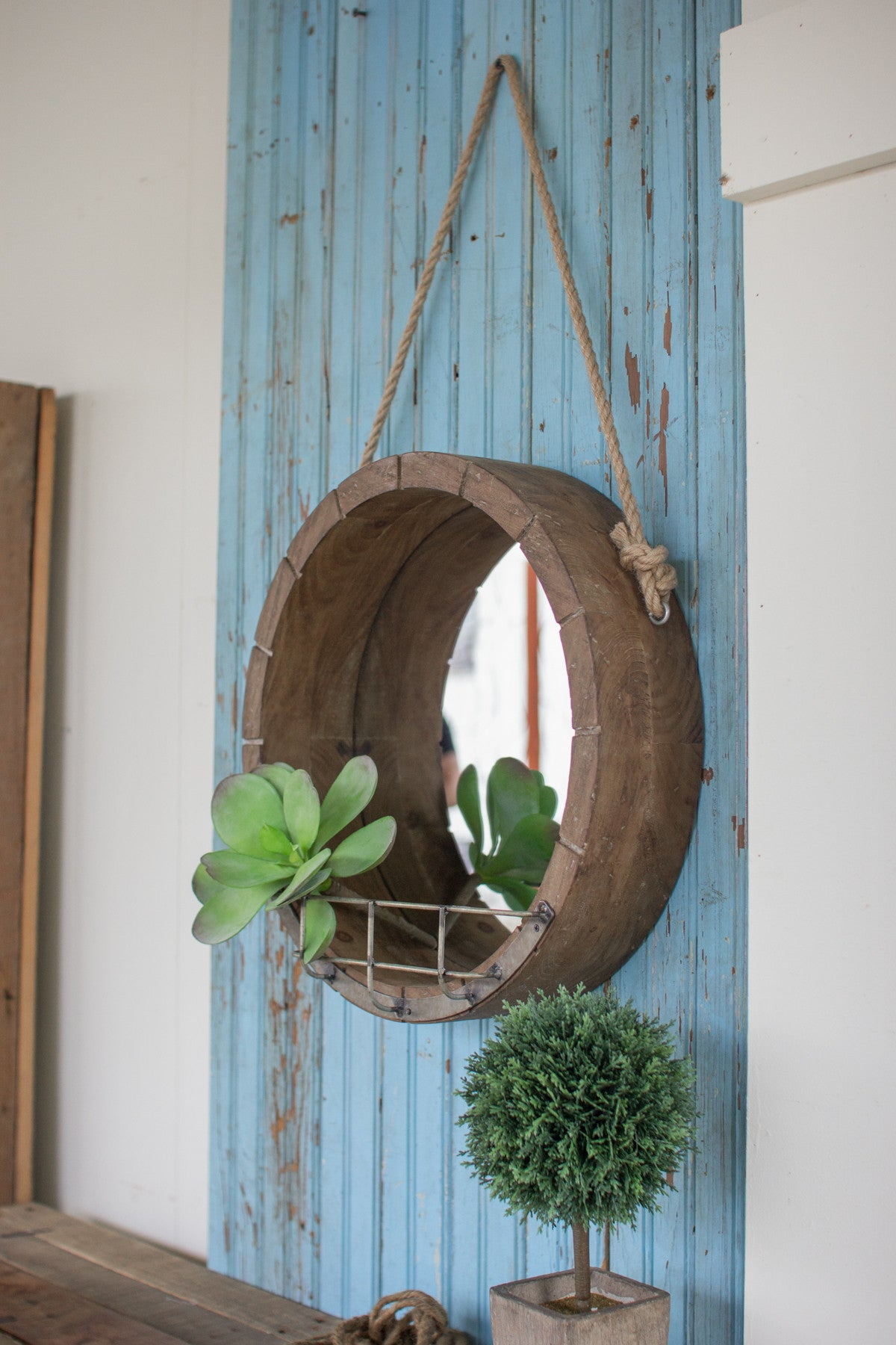 HANGING ROUND WOODEN MIRROR WITH ROPE HANGER METAL SHELF