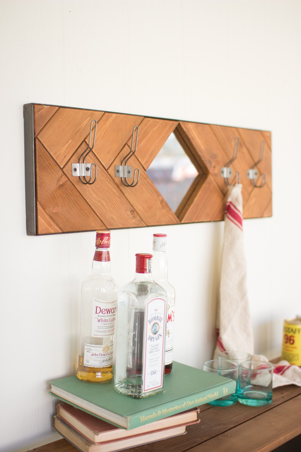 RECYCLED HONEY WOOD MIRROR WITH FOUR COAT HOOKS