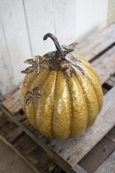 ANTIQUE GOLD METAL PUMPKIN