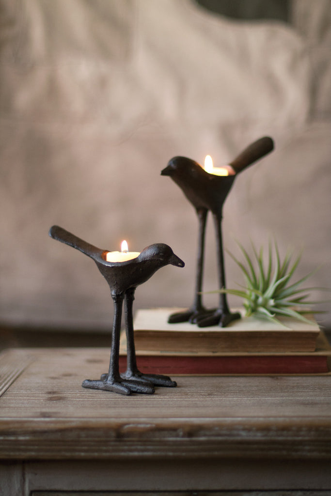 SET OF 2 CAST IRON BIRD T-LITE LIGHT HOLDERS