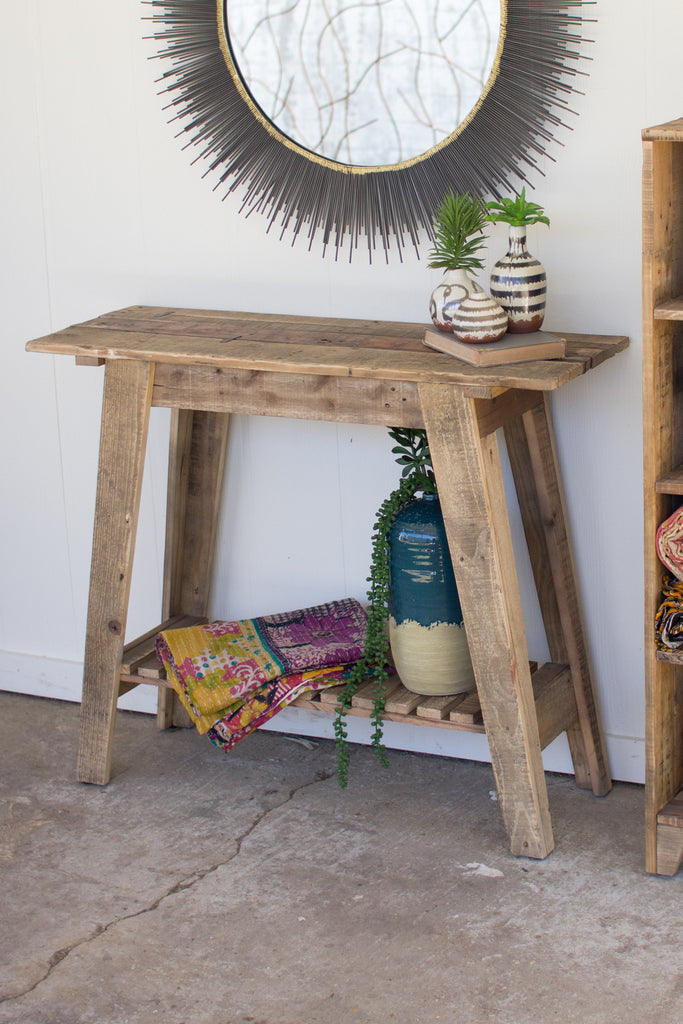 RECYCLED WOOD SOFA TABLE WITH LOWER SLATTED SHELF
