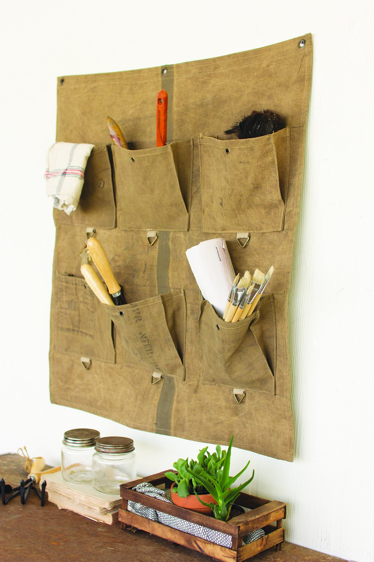 RECYCLED CANVAS WALL STORAGE WITH SIX POUCHES
