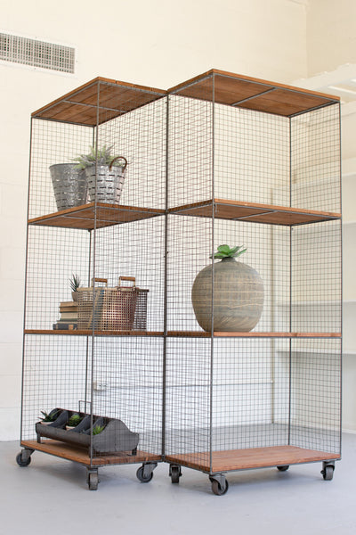 2 HINGED RAW METAL AND HONEY WOOD SHELVING UNITS ON CASTERS