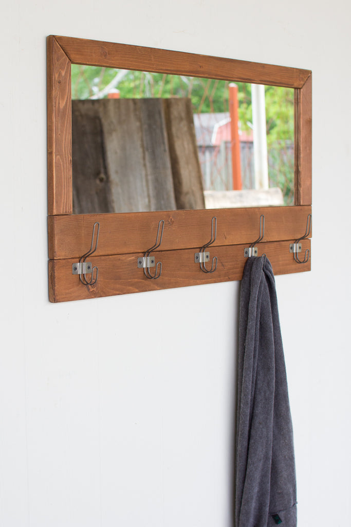 RECYCLED HONEY WOOD MIRROR WITH FIVE COAT HOOKS