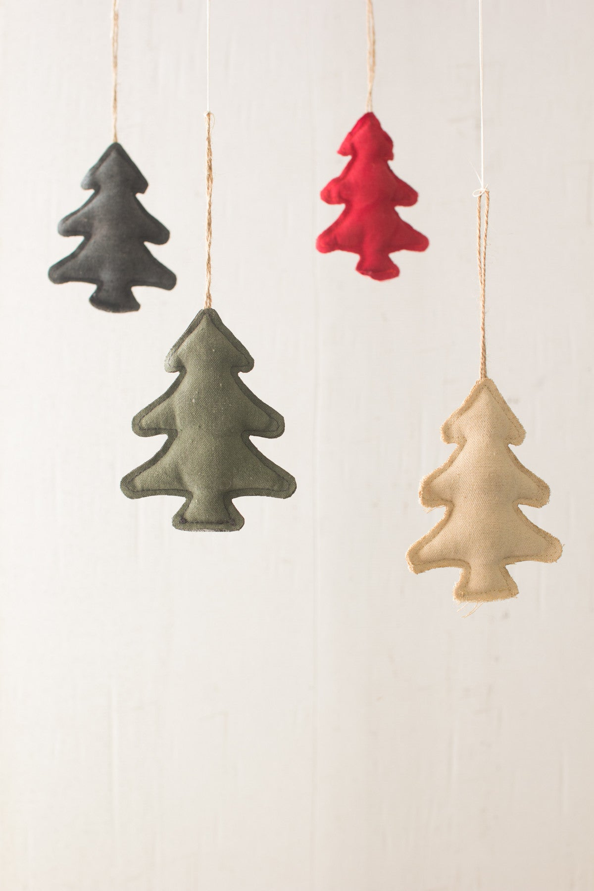 SET OF 4 CANVAS CHRISTMAS TREE ORNAMENTS