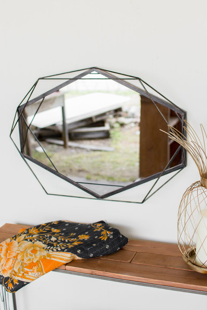 HEXAGON MIRROR WITH IRON DETAIL