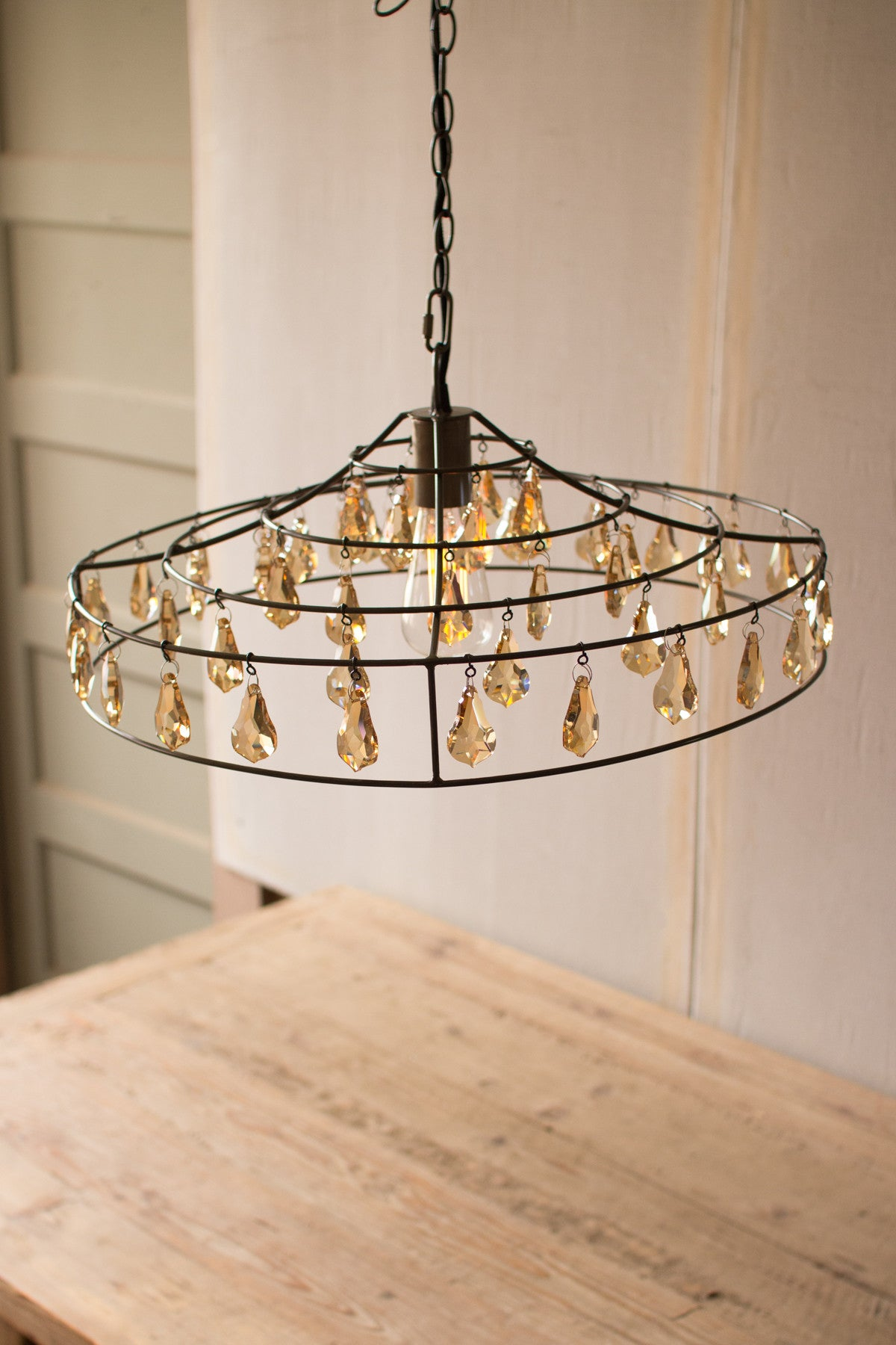PENDANT LIGHT - WITH AMBER GEMS