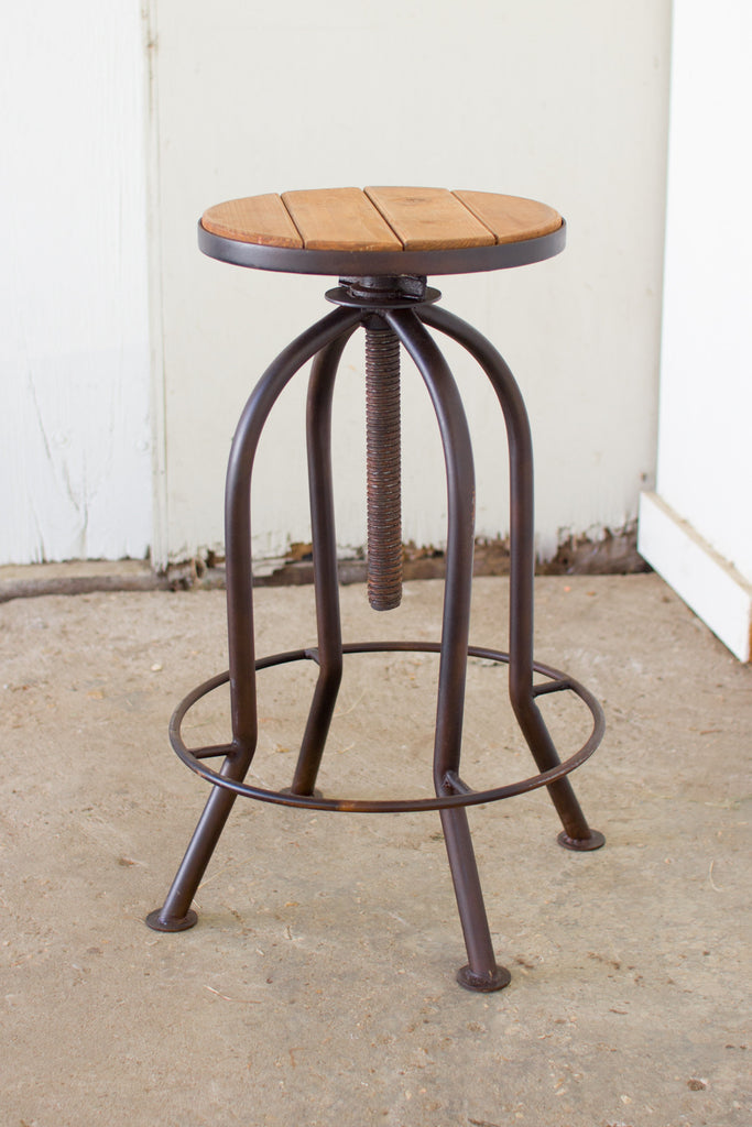 ADJUSTABLE RUSTIC FINISH BAR STOOL WITH RECYCLED WOOD