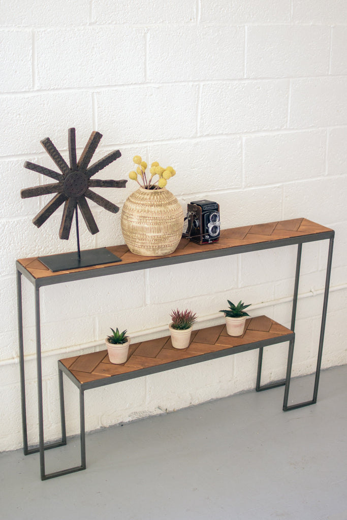 2 TIERED RECYCLED HONEY WOOD & IRON CONSOLE TABLE WITH HERRING BONE PATTERN TOP