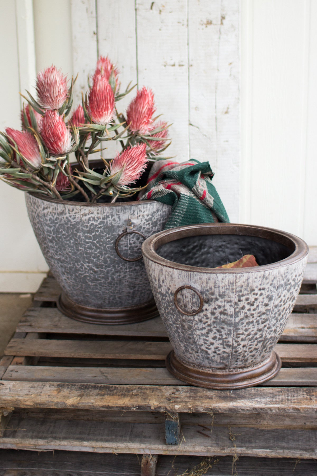 SET OF 2 HAMMERED METAL PLANTERS
