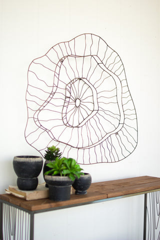 3 TIERED COPPER FINISH WIRE ABSTRACT WALL SCULPTURE