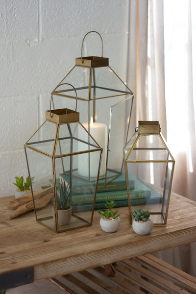 ANTIQUE BRASS AND GLASS LANTERN (3 SIZES AVAILABLE)