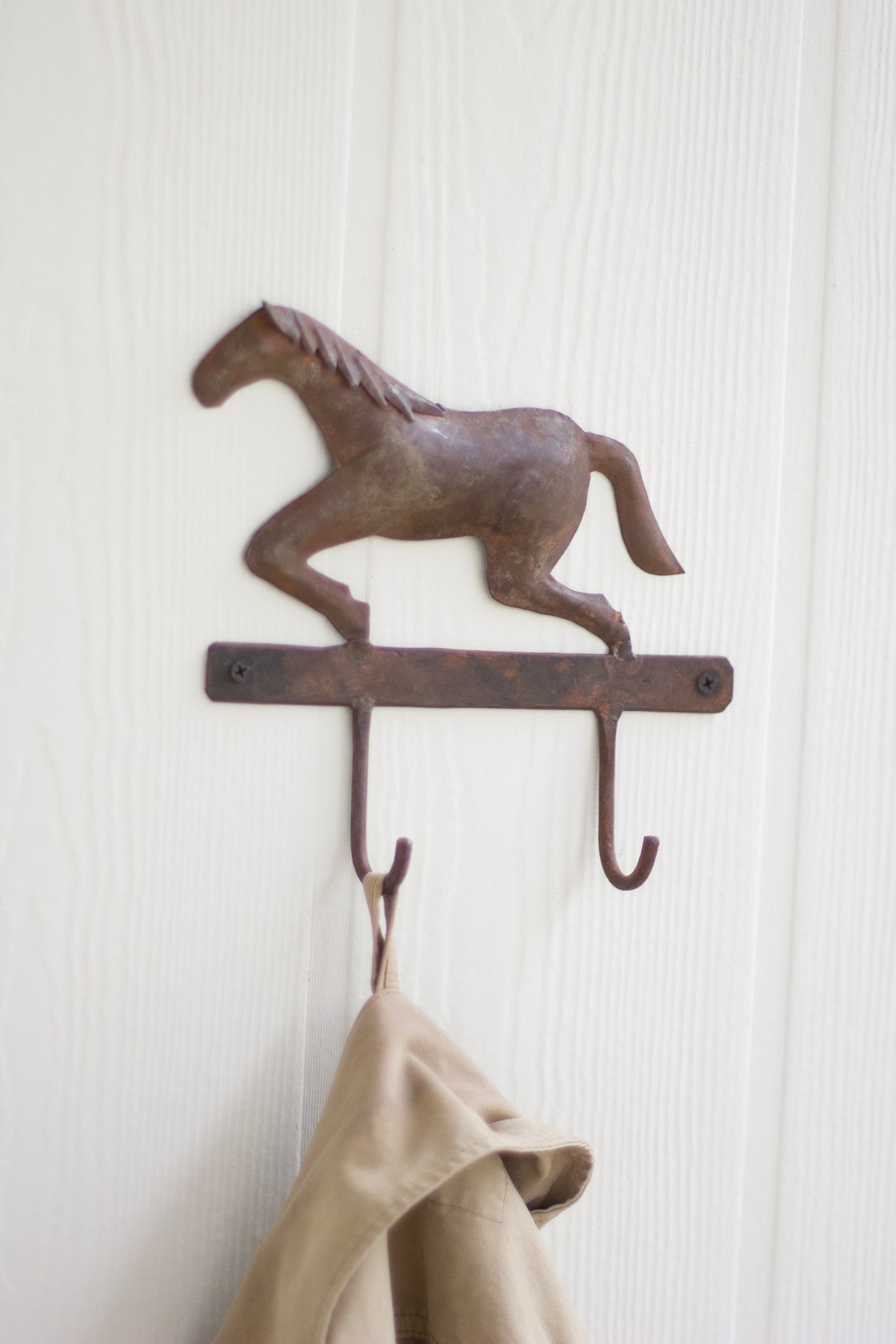 HAND FORGED IRON HORSE HANGER