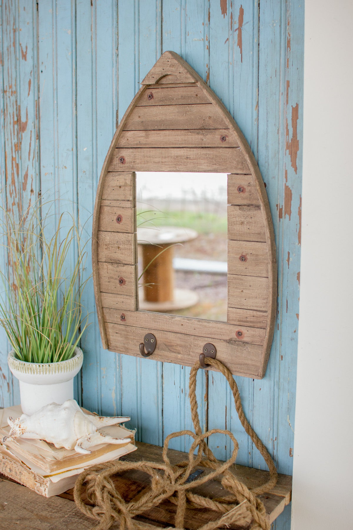 RECYCLED NATURAL WOODEN BOAT SHAPE MIRROR