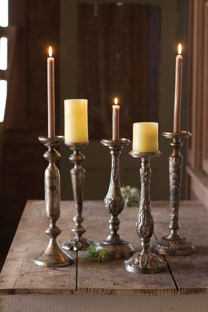 SET OF 5 ANTIQUE NICKEL PLATED CANDLEHOLDERS