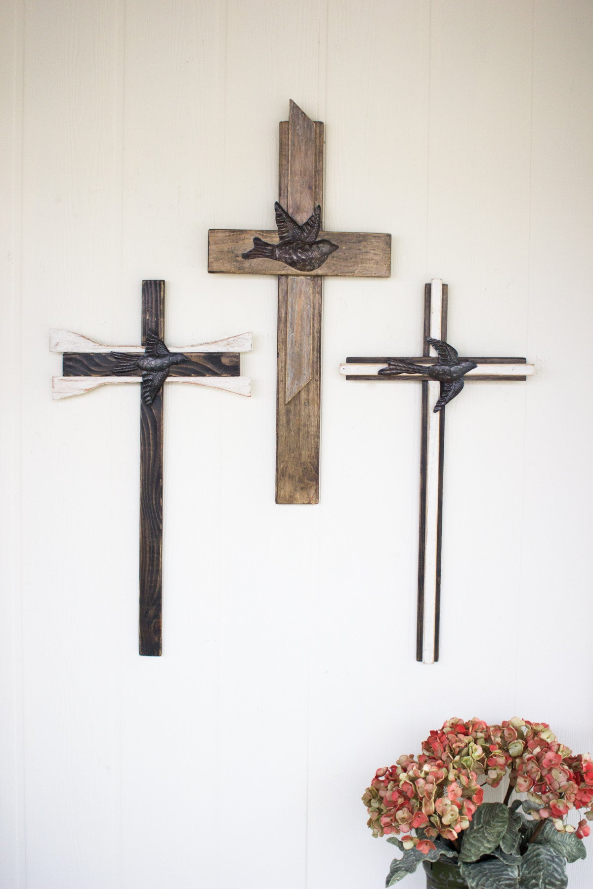 SET OF 3 RECYCLED WOOD CROSSES WITH HAND HAMMERED METAL BIRDS
