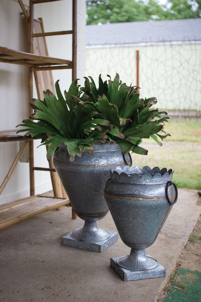 ZINC URN WITH SQUARE BASE (2 SIZES AVAILABLE)