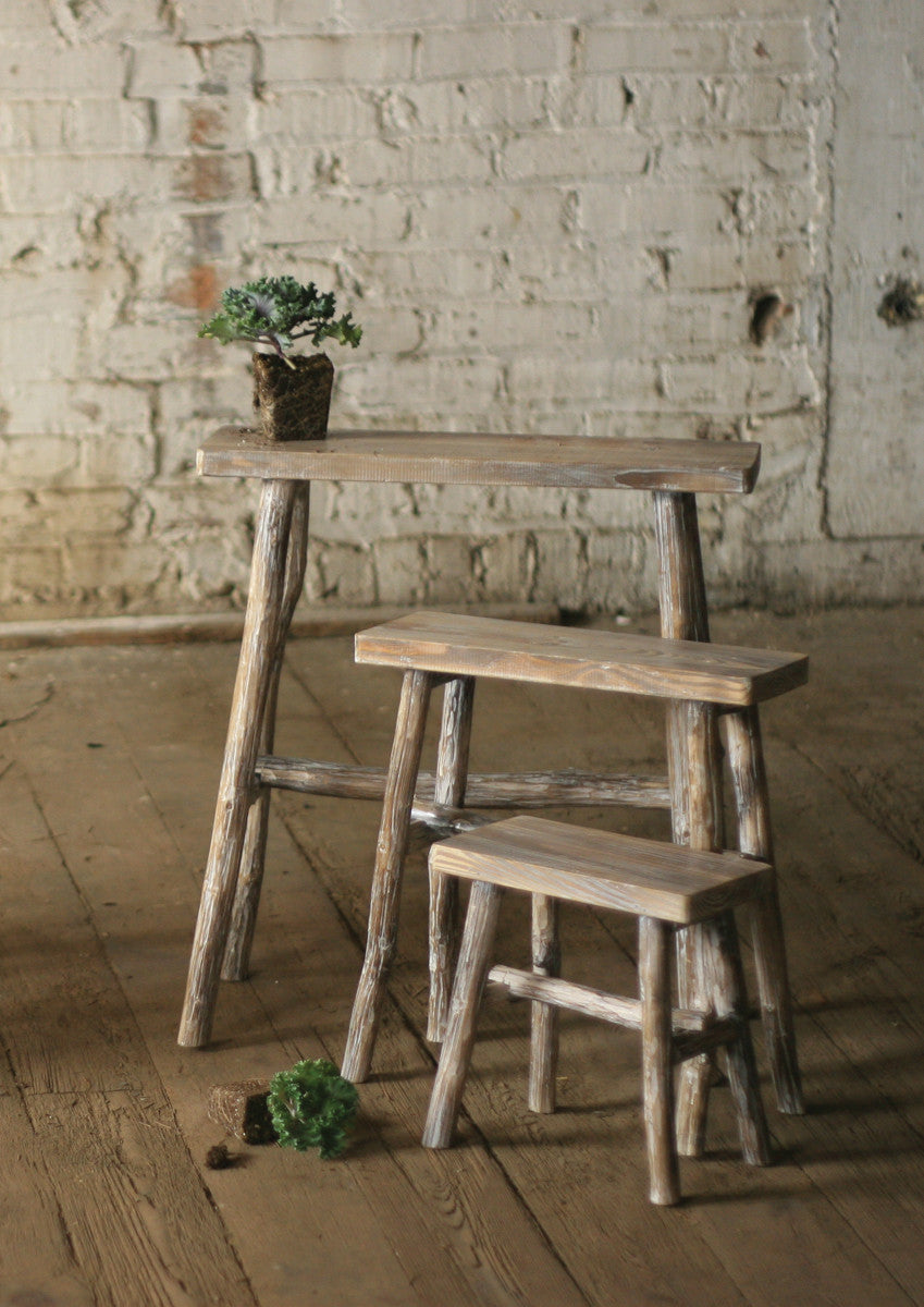 SET OF 3 RECTANGLE WHITEWASHED PEDESTALS WITH TWIG LEGS