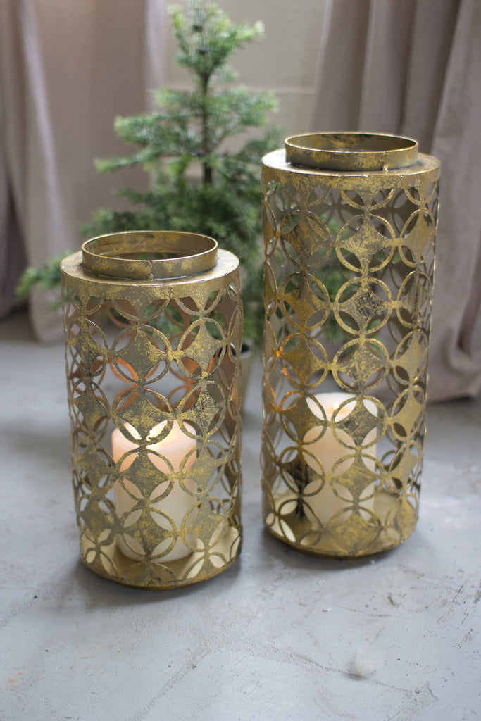 SET OF 2 ROUND OLD GOLD LANTERNS